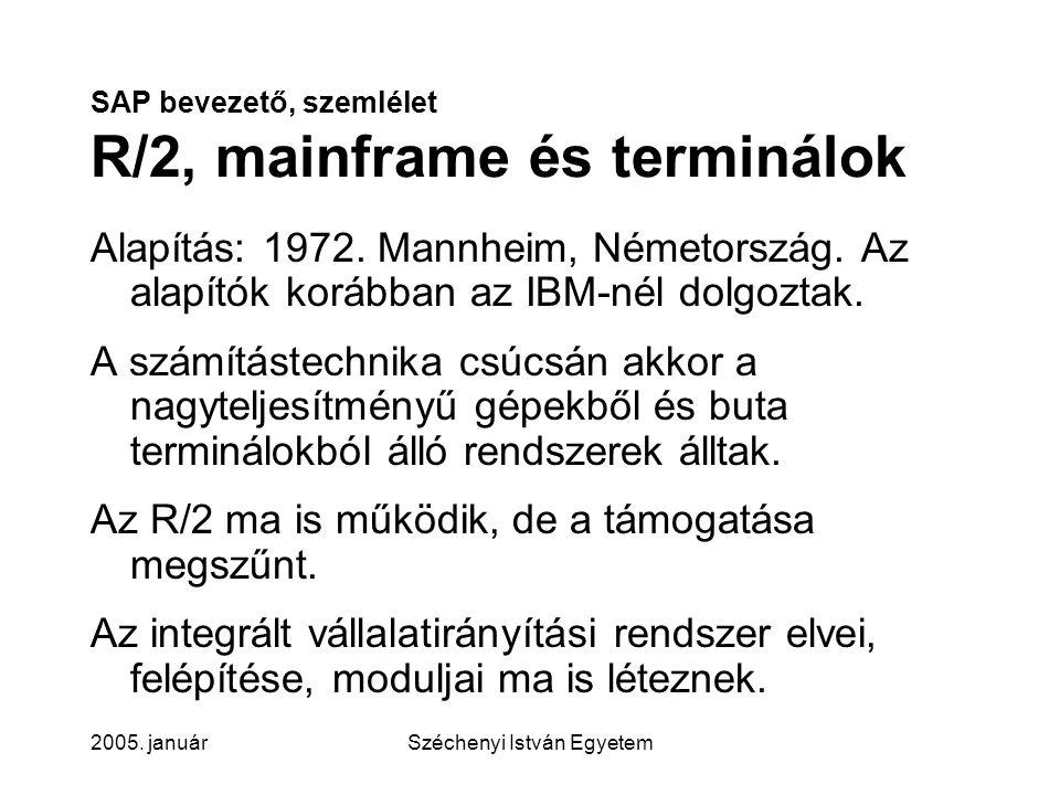 SAP bevezető, szemlélet R/2, mainframe és terminálok