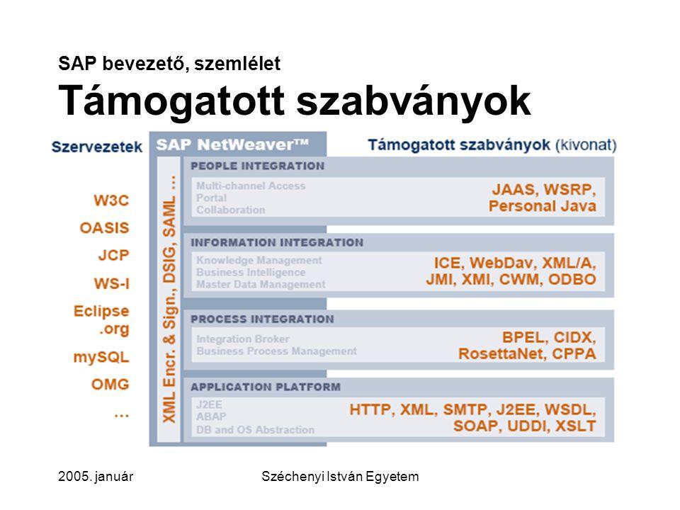 SAP bevezető, szemlélet Támogatott szabványok