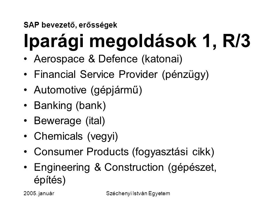 SAP bevezető, erősségek Iparági megoldások 1, R/3