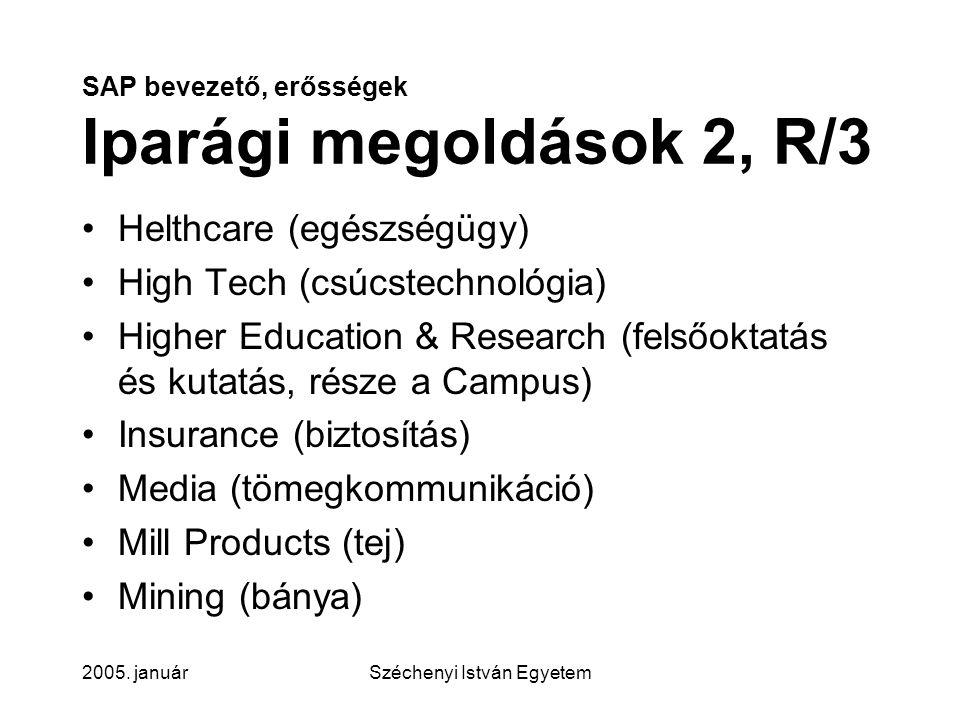 SAP bevezető, erősségek Iparági megoldások 2, R/3