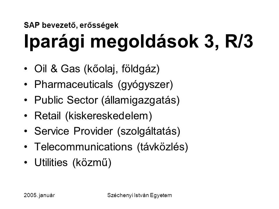 SAP bevezető, erősségek Iparági megoldások 3, R/3