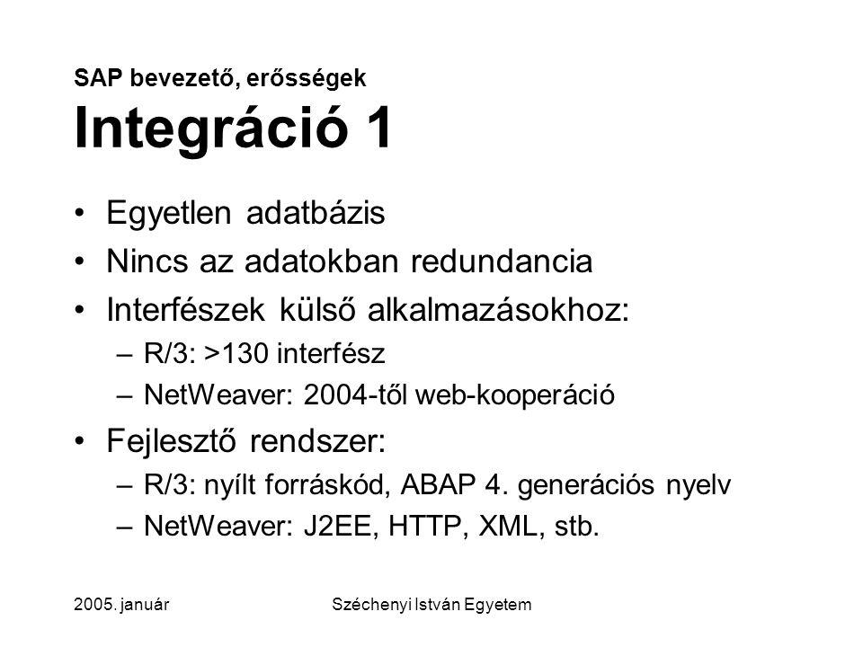 SAP bevezető, erősségek Integráció 1