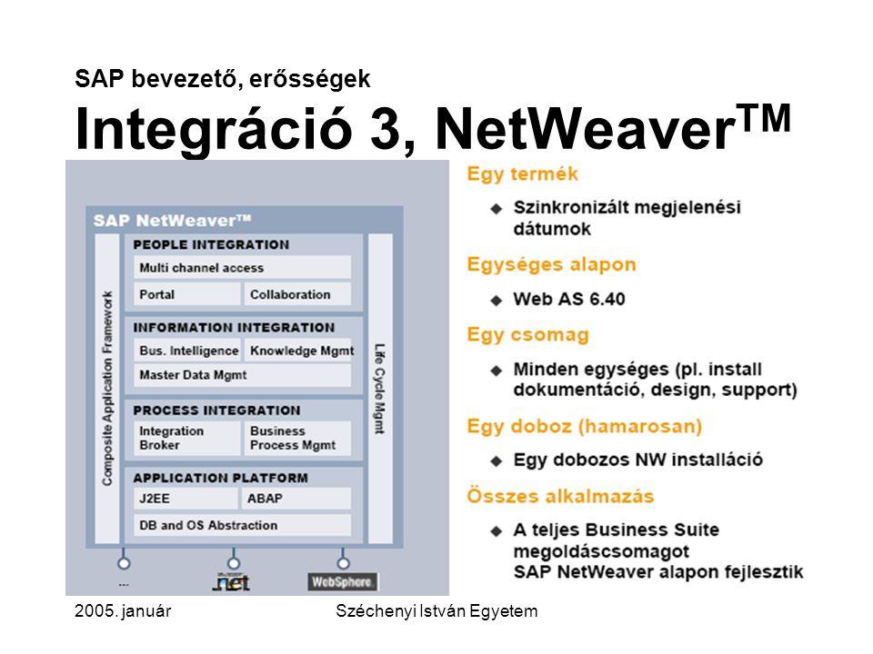 SAP bevezető, erősségek Integráció 3, NetWeaverTM