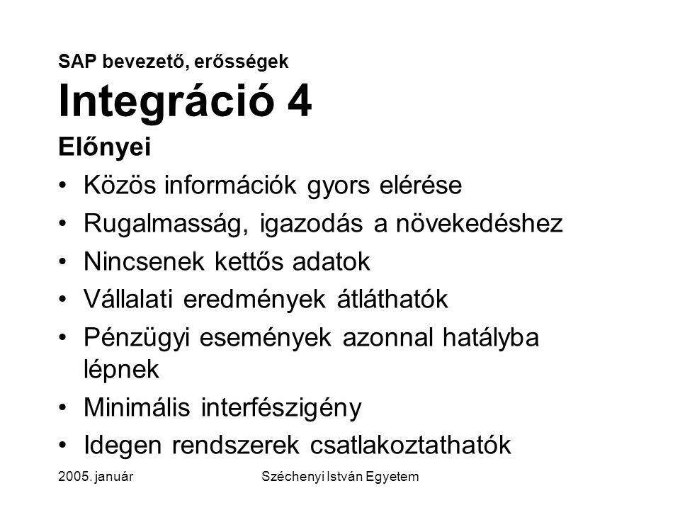 SAP bevezető, erősségek Integráció 4