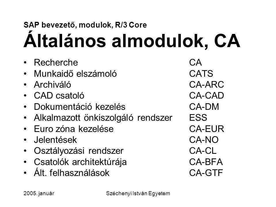 SAP bevezető, modulok, R/3 Core Általános almodulok, CA