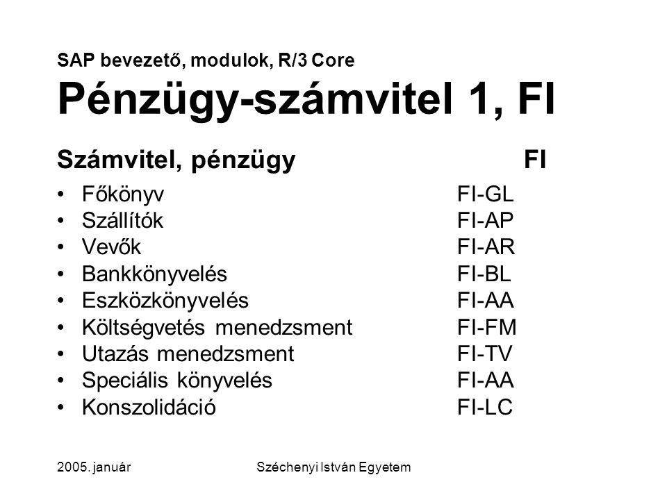SAP bevezető, modulok, R/3 Core Pénzügy-számvitel 1, FI