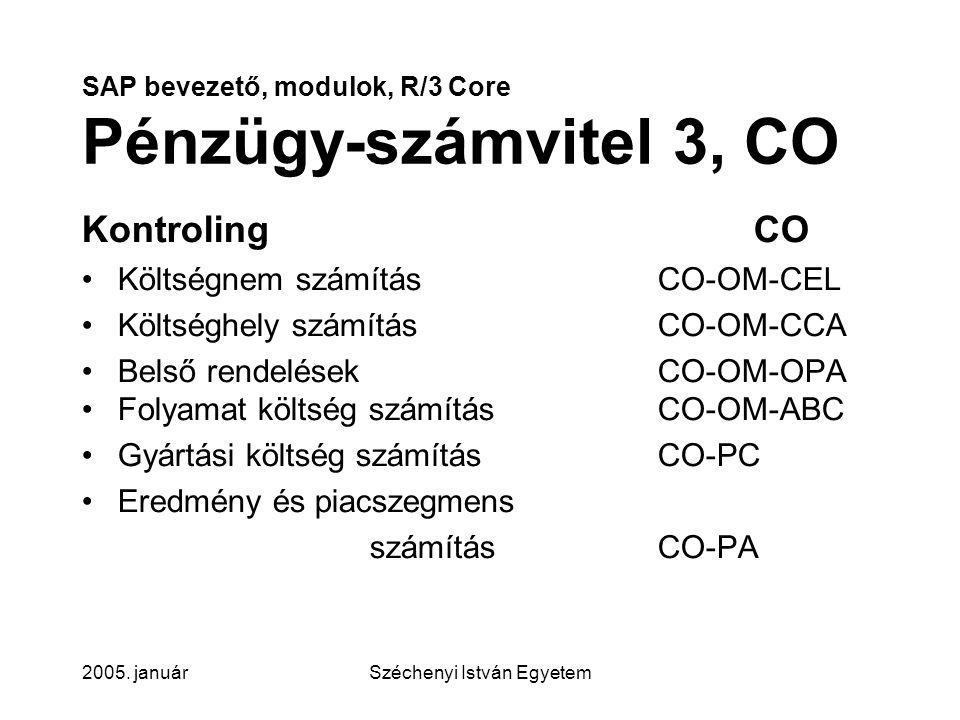SAP bevezető, modulok, R/3 Core Pénzügy-számvitel 3, CO