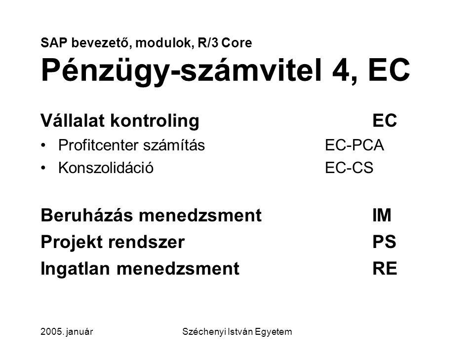 SAP bevezető, modulok, R/3 Core Pénzügy-számvitel 4, EC