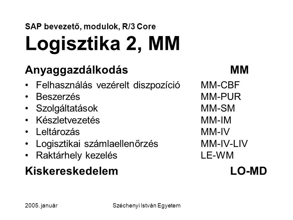 SAP bevezető, modulok, R/3 Core Logisztika 2, MM