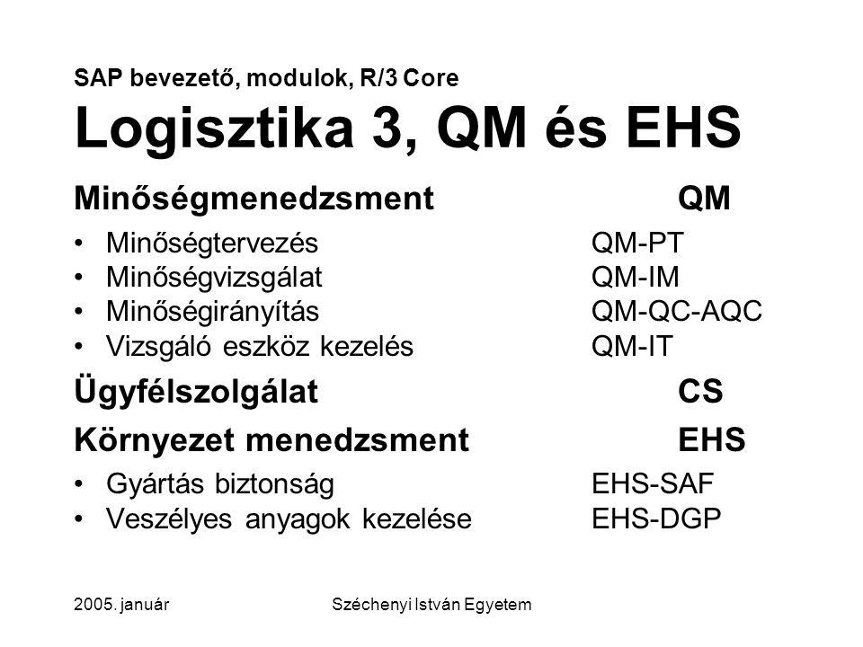 SAP bevezető, modulok, R/3 Core Logisztika 3, QM és EHS