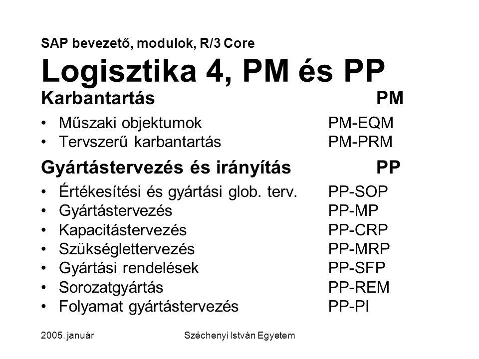 SAP bevezető, modulok, R/3 Core Logisztika 4, PM és PP