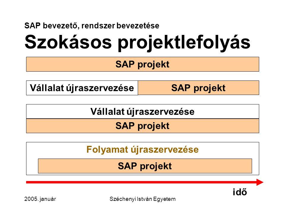 SAP bevezető, rendszer bevezetése Szokásos projektlefolyás