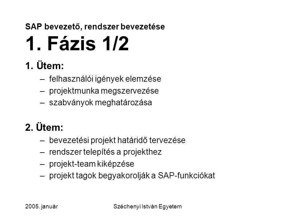 SAP bevezető, rendszer bevezetése 1. Fázis 1/2