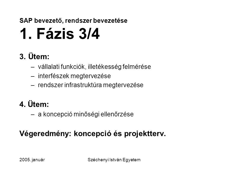 SAP bevezető, rendszer bevezetése 1. Fázis 3/4