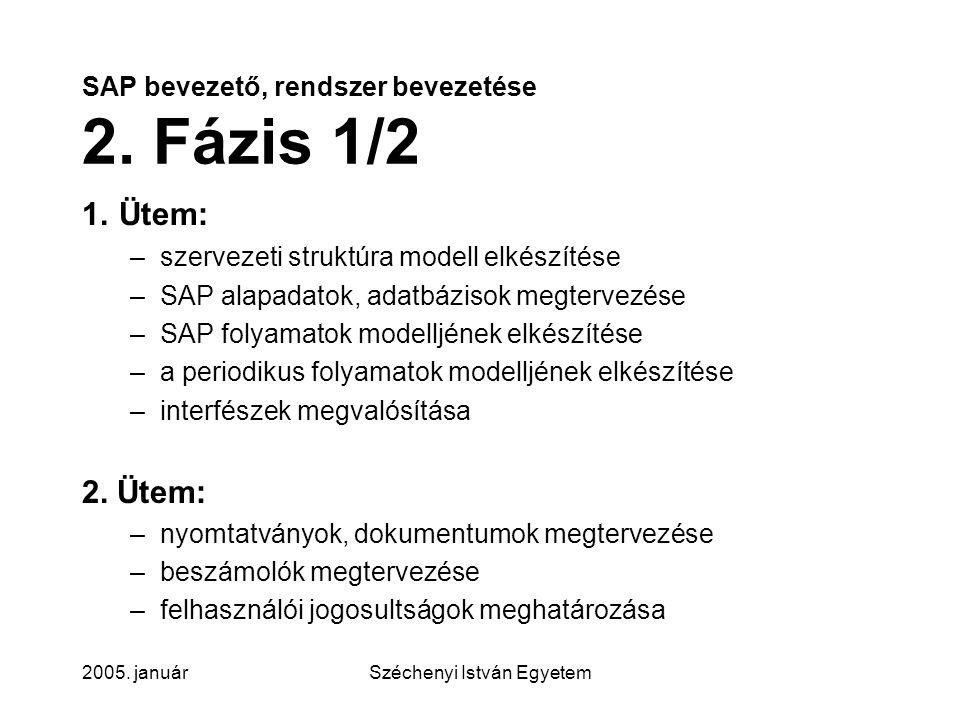 SAP bevezető, rendszer bevezetése 2. Fázis 1/2