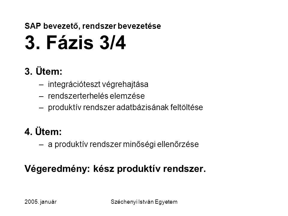 SAP bevezető, rendszer bevezetése 3. Fázis 3/4