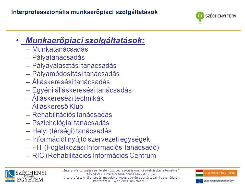 Munkaerőpiaci szolgáltatások: