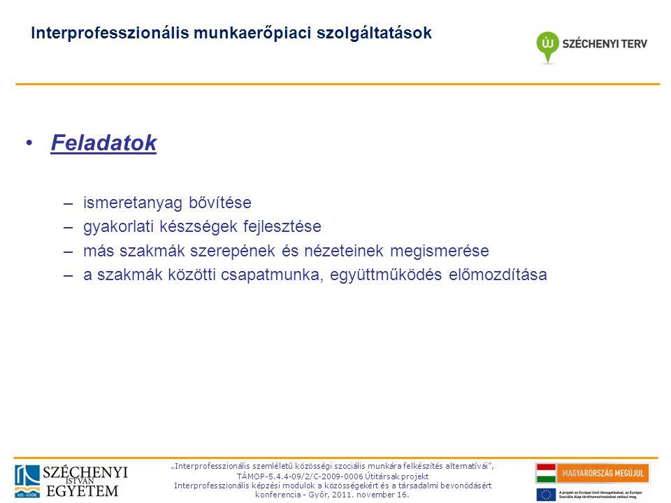 Feladatok Interprofesszionális munkaerőpiaci szolgáltatások
