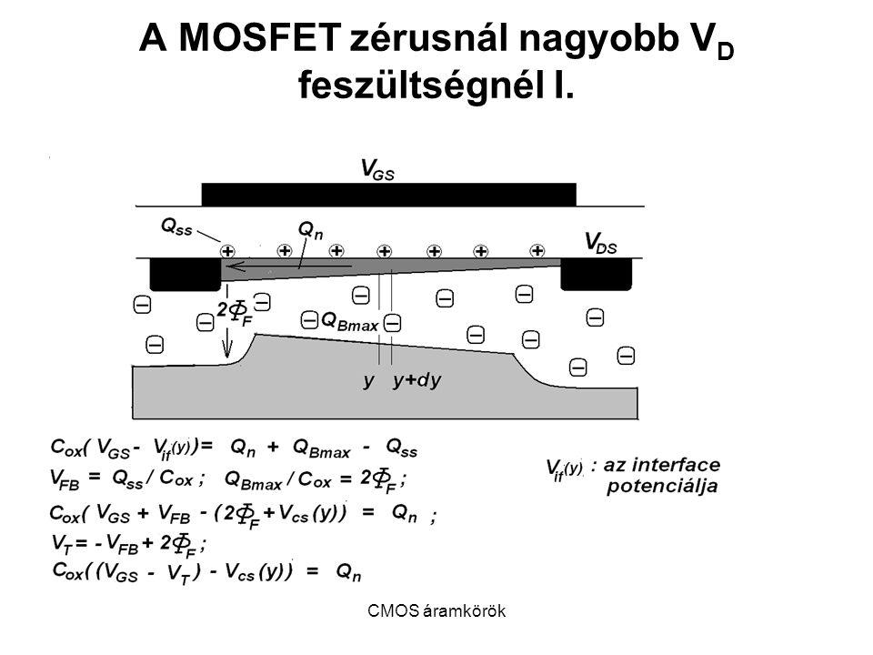 A MOSFET zérusnál nagyobb VD feszültségnél I.