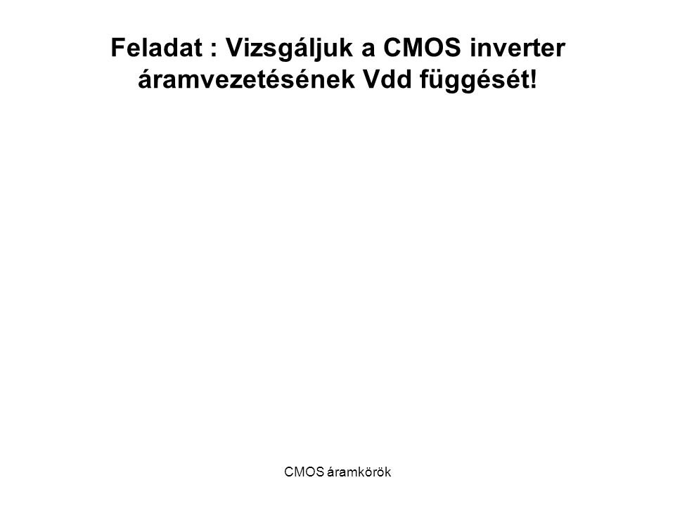 Feladat : Vizsgáljuk a CMOS inverter áramvezetésének Vdd függését!