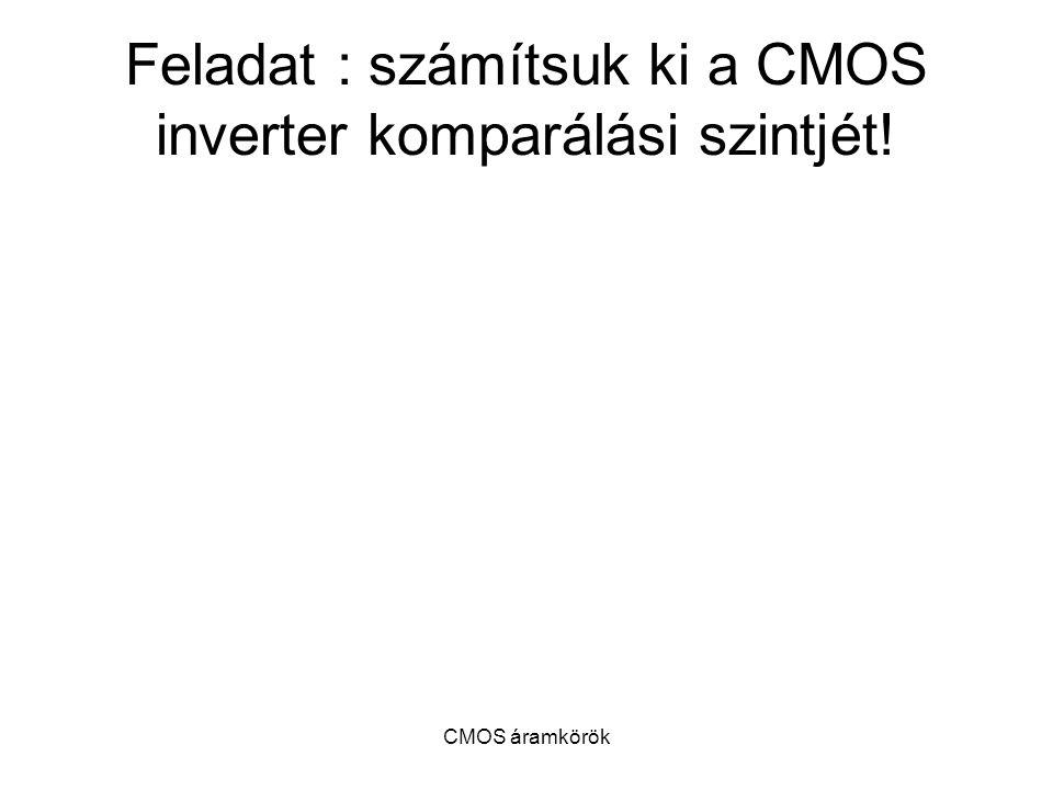 Feladat : számítsuk ki a CMOS inverter komparálási szintjét!