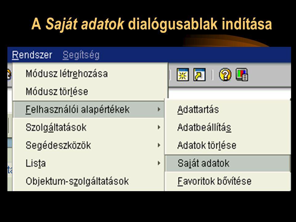 A Saját adatok dialógusablak indítása