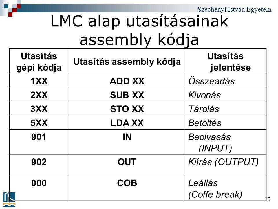 LMC alap utasításainak assembly kódja