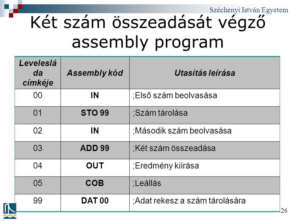 Két szám összeadását végző assembly program