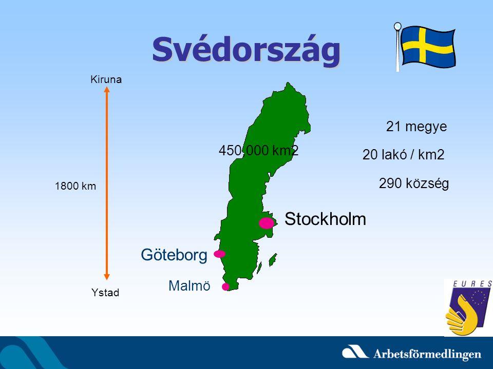 Svédország Stockholm Göteborg 21 megye 450,000 km2 20 lakó / km2