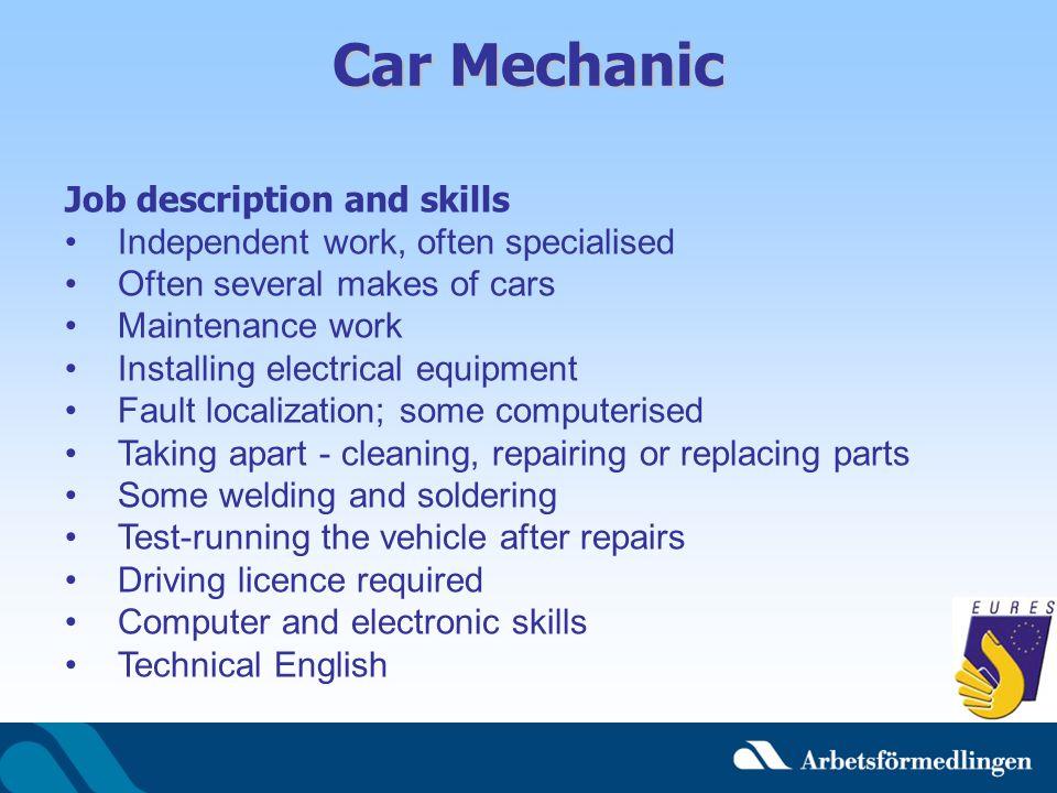 Car Mechanic Job description and skills