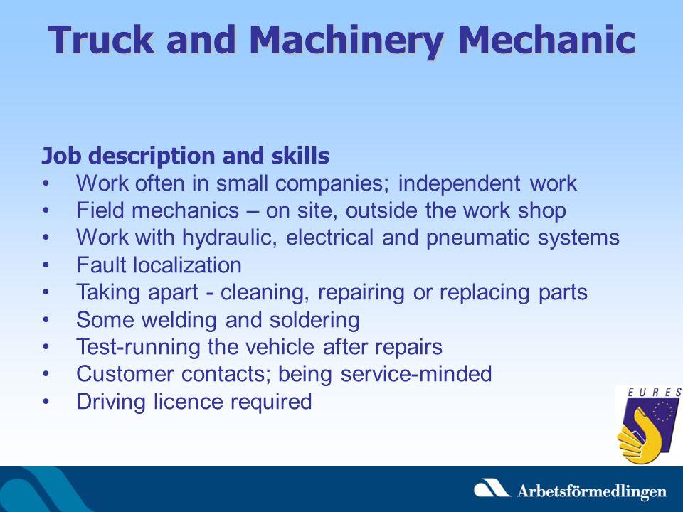 Truck and Machinery Mechanic