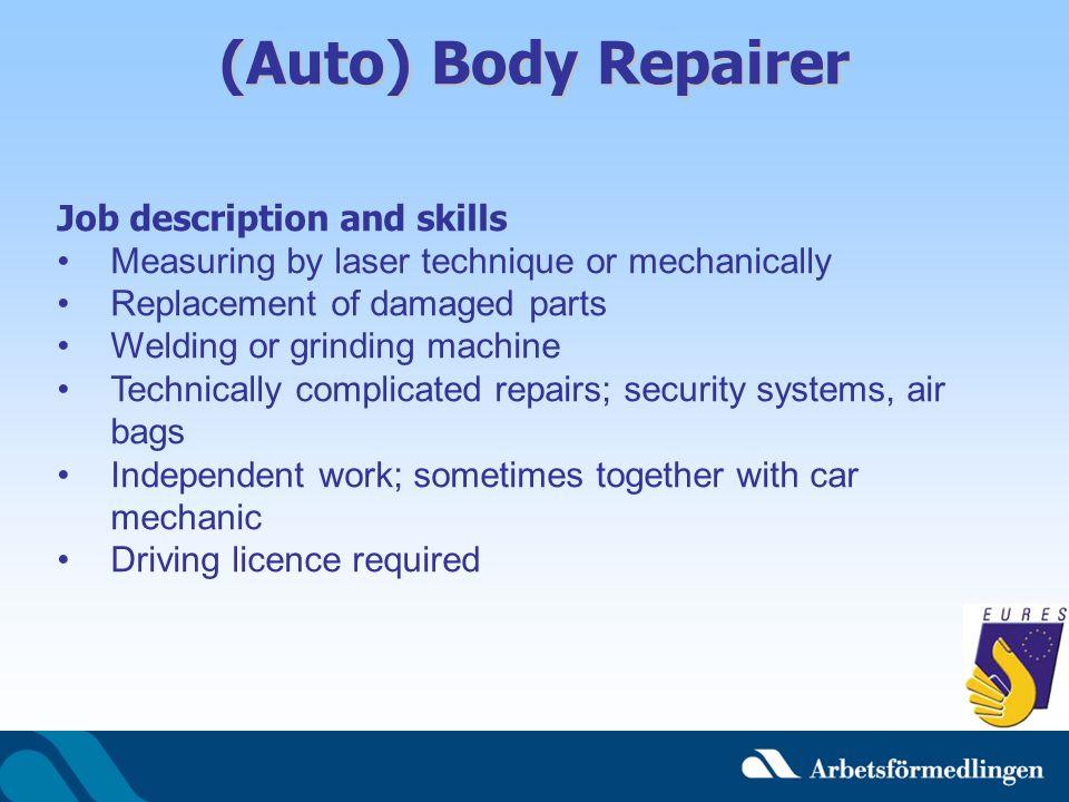 (Auto) Body Repairer Job description and skills