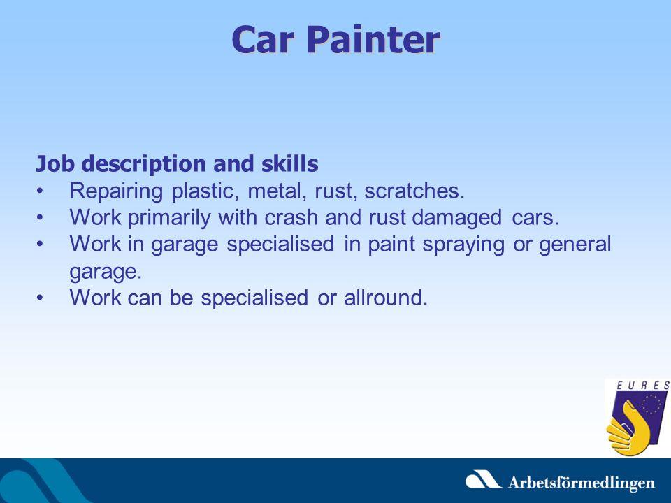 Car Painter Job description and skills