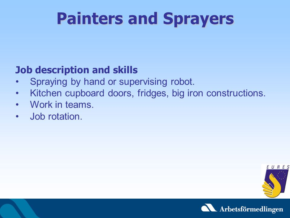 Painters and Sprayers Job description and skills