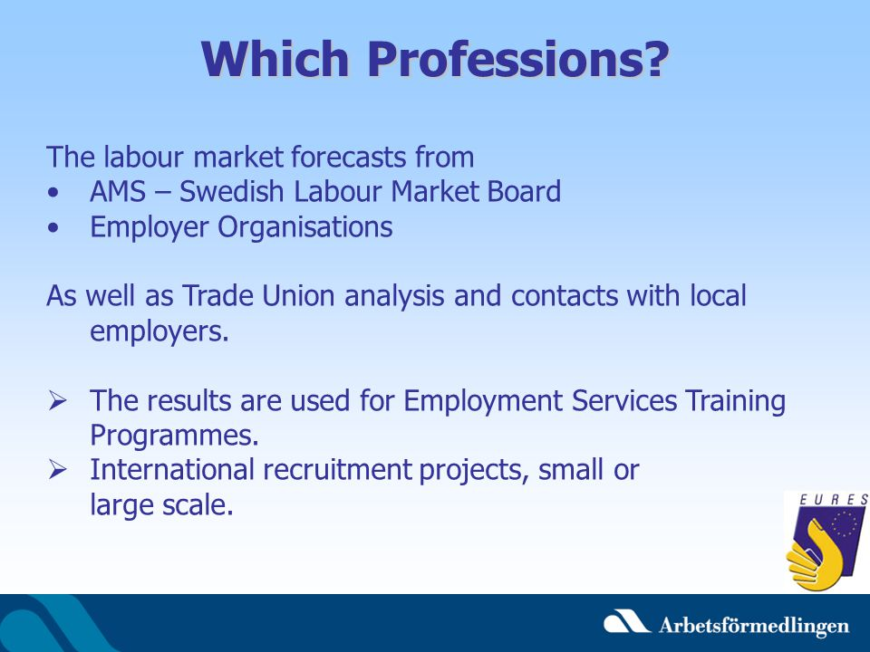 Which Professions The labour market forecasts from