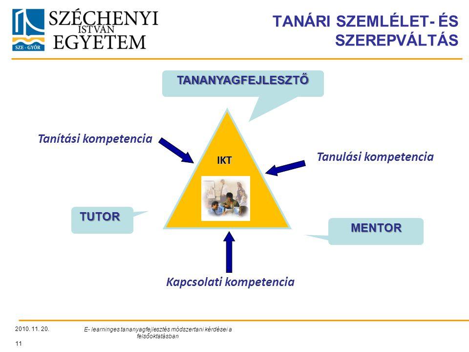 TANÁRI SZEMLÉLET- ÉS SZEREPVÁLTÁS