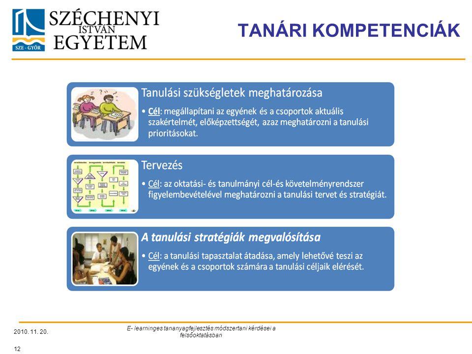 TANÁRI KOMPETENCIÁK E- learninges tananyagfejlesztés módszertani kérdései a felsőoktatásban.