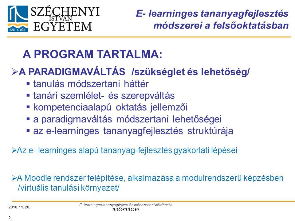 E- learninges tananyagfejlesztés módszerei a felsőoktatásban