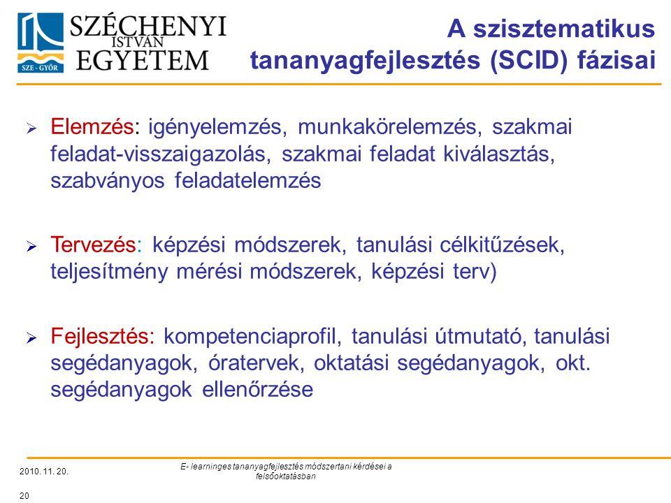 A szisztematikus tananyagfejlesztés (SCID) fázisai