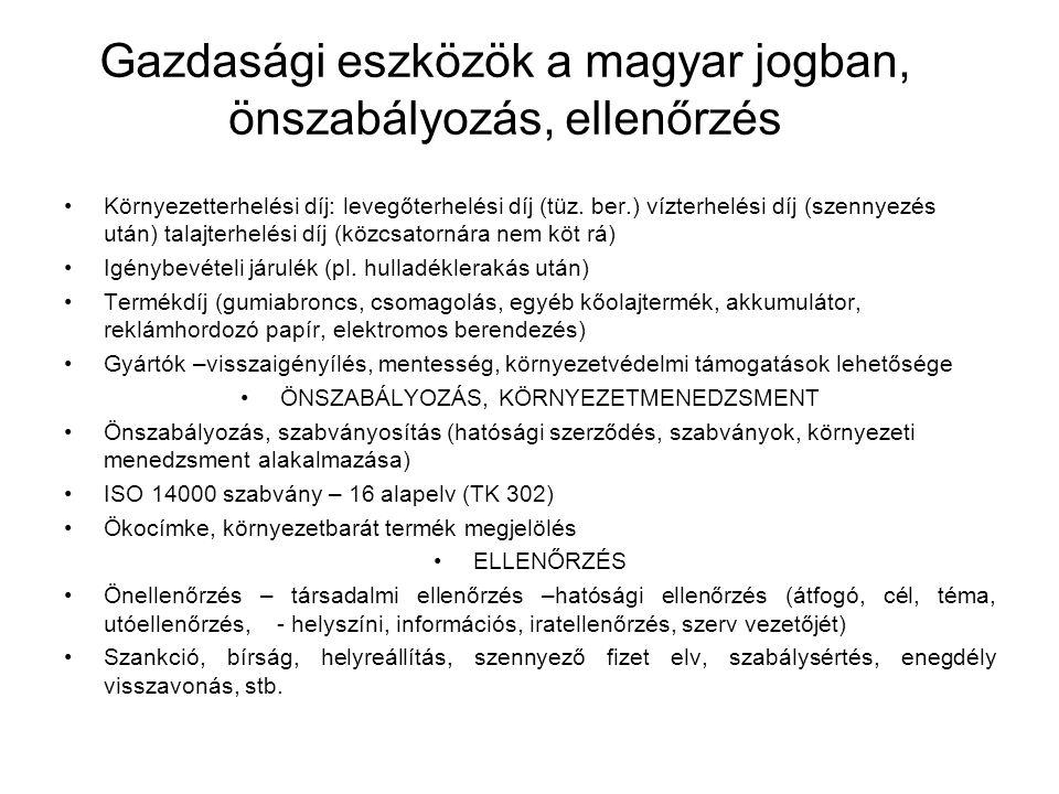 Gazdasági eszközök a magyar jogban, önszabályozás, ellenőrzés