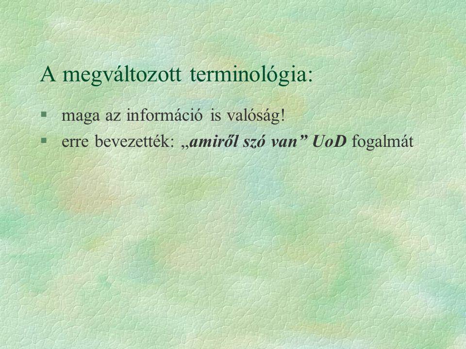 A megváltozott terminológia: