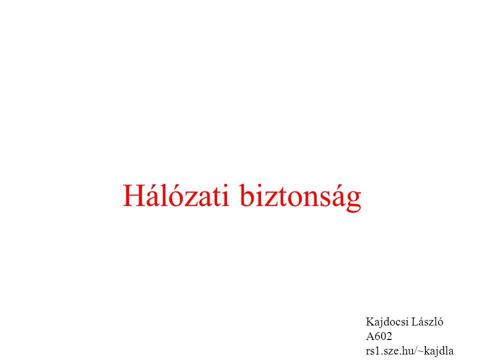 Hálózati biztonság Kajdocsi László A602 rs1.sze.hu/~kajdla