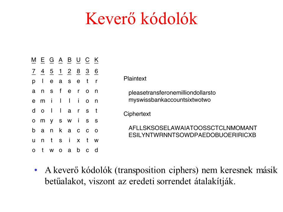 Keverő kódolók A keverő kódolók (transposition ciphers) nem keresnek másik betűalakot, viszont az eredeti sorrendet átalakítják.