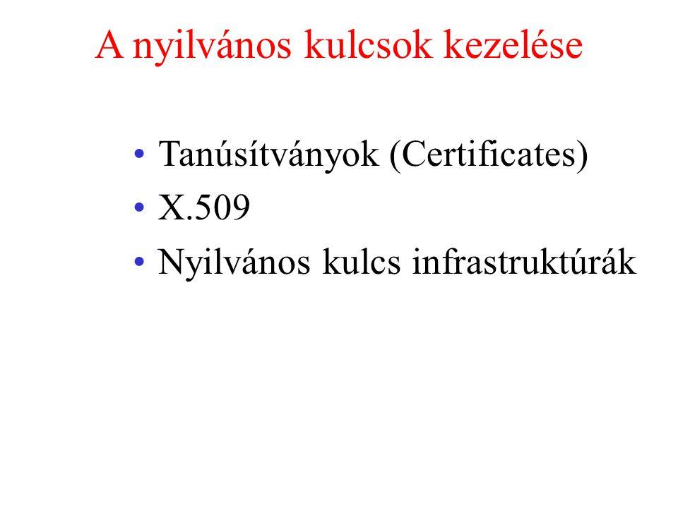 A nyilvános kulcsok kezelése