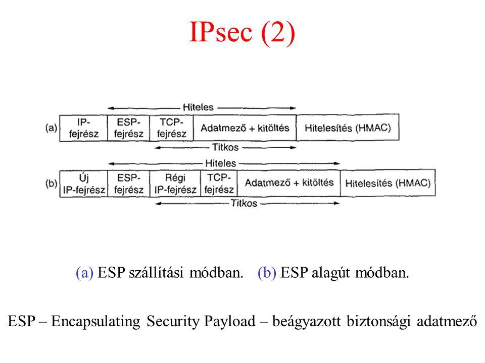 IPsec (2) (a) ESP szállítási módban. (b) ESP alagút módban.
