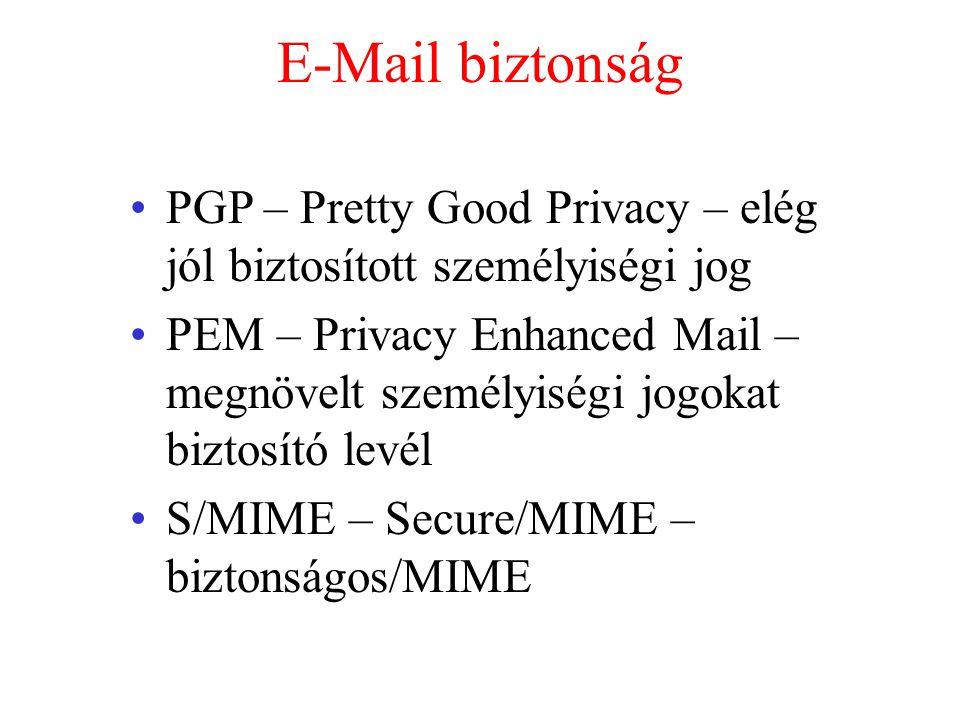 E-Mail biztonság PGP – Pretty Good Privacy – elég jól biztosított személyiségi jog.