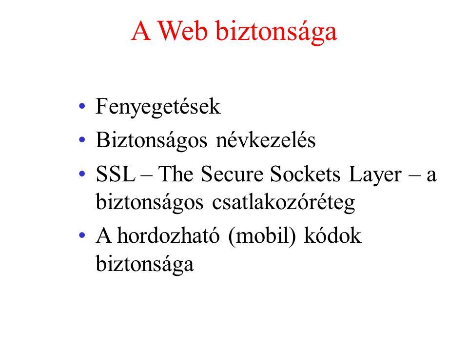 A Web biztonsága Fenyegetések Biztonságos névkezelés