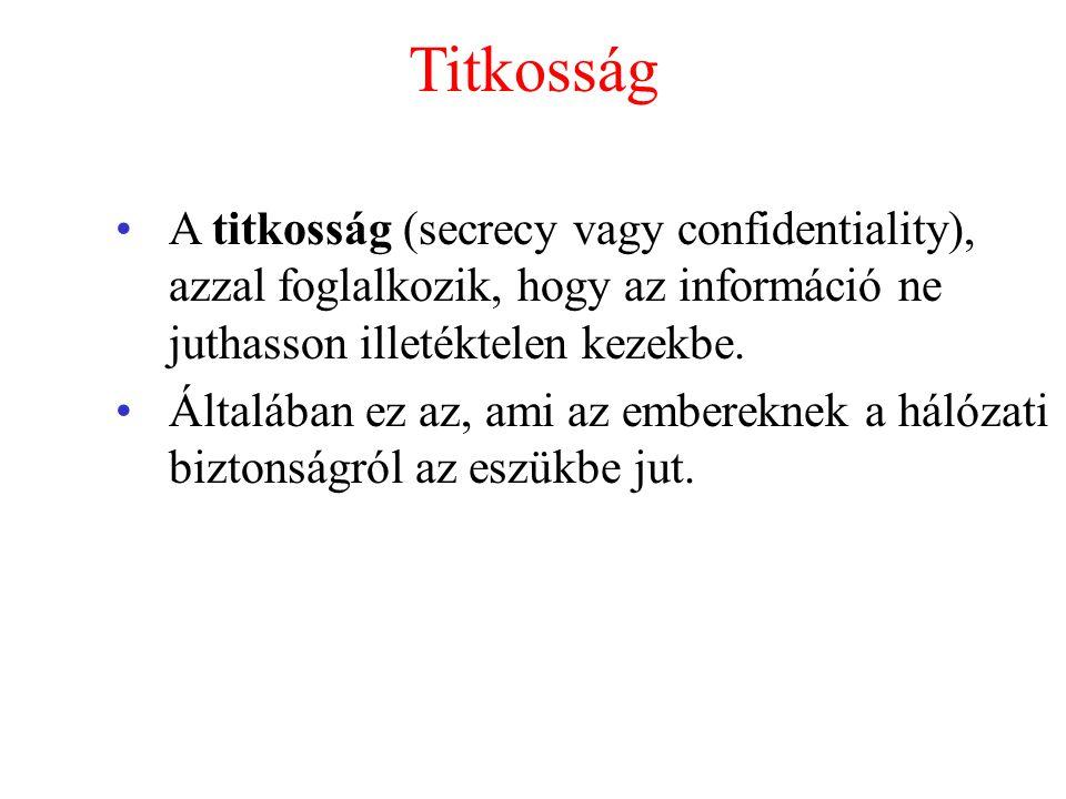 Titkosság A titkosság (secrecy vagy confidentiality), azzal foglalkozik, hogy az információ ne juthasson illetéktelen kezekbe.