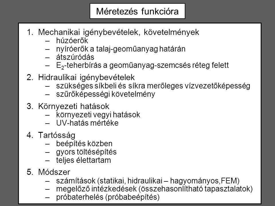 Méretezés funkcióra Mechanikai igénybevételek, követelmények