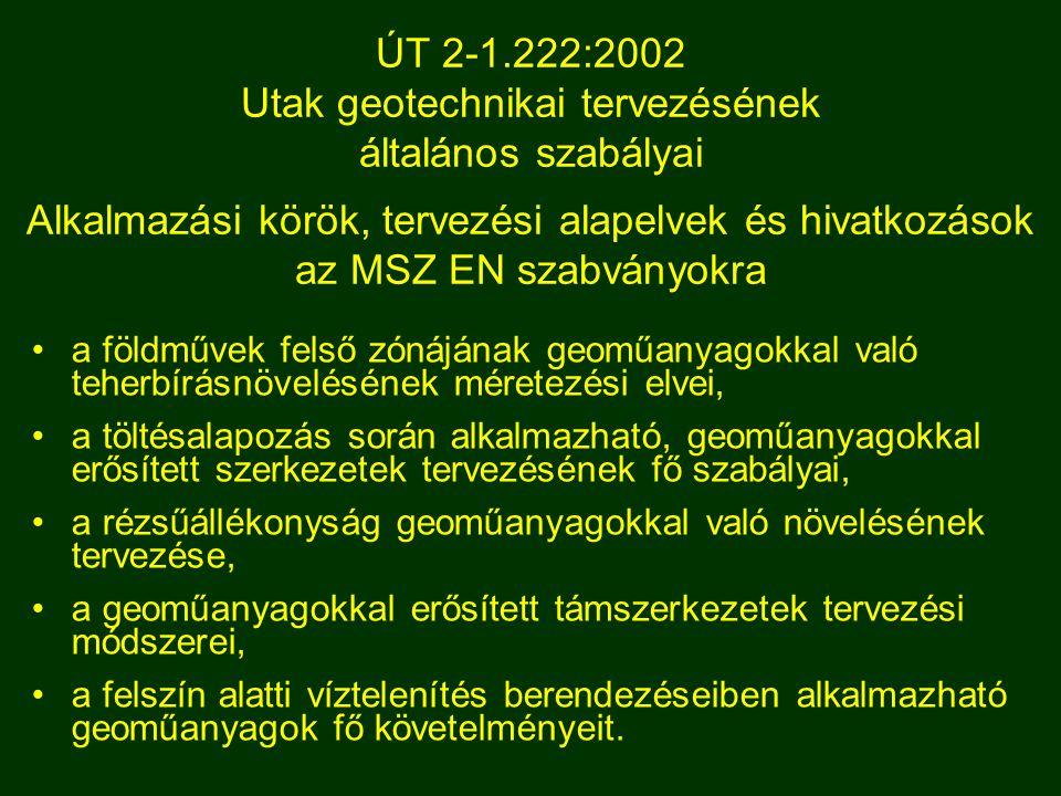 ÚT 2-1.222:2002 Utak geotechnikai tervezésének általános szabályai Alkalmazási körök, tervezési alapelvek és hivatkozások az MSZ EN szabványokra